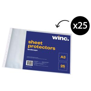 Winc Sheet Protector A3 Punched Landscape Pack 25