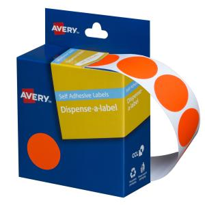 Avery Fluoro Red Circle Dispenser Labels - 24mm diameter - 350 Labels