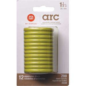 M By Staples ARC System 38mm Rings Notebook Expansion Disc Lime 12/Pack