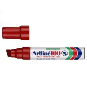 Artline 100 Permanent Marker Broad Chisel Tip 7.5-12.0mm Red