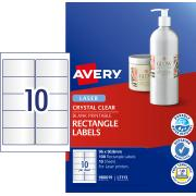 Avery Crystal Clear Rectangle Labels for Laser Printers - 96 x 50.8mm - 100 Labels (L7113)