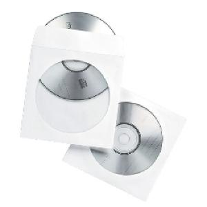 Fellowes CD/DVD Sleeve White Paper Pack 100