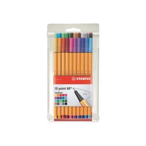 Stabilo Point 88 Fineliner Pen Fine 0.4mm Assorted Colour Multi-Pack Wallet 20