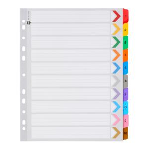 Marbig Dividers Manilla Plastic Coloured Tab Reinforced Extra Wide A4 White Numbered 10 Tab