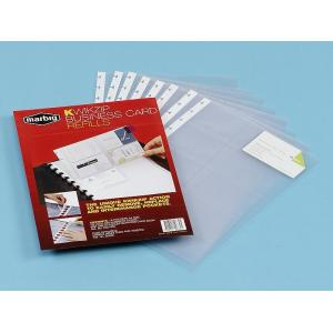 Marbig Kwik Zip Business Card Refills 200 Card Capacity Pack 10 Clear