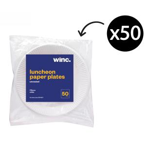 WINC Round Paper Luncheon Plate Uncoated 175mm White Pack 50