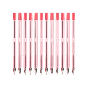 Simply Tinted Stick Ballpoint Pen Fine 0.7mm Red Box 12