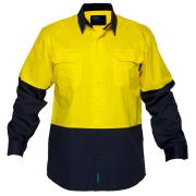 Prime Mover WWL801 100% Cotton Lightweight High Visibility Long Sleeve Drill Shirt