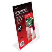 Deflecto Sign/menu Holder A4 With DL Pocket Slanted Clear