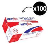 Mediflex Nitrile Gloves Powder Free Medium Blue Box 100