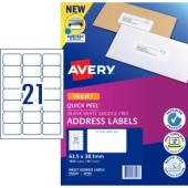 Avery Address Labels with Quick Peel for Inkjet Printers - 63.5 x 38.1mm - 1050 Labels (J8160)