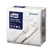 Tork Dinner Napkin Quilted Emboss 2 Ply 8 Fold 390X390mm Pack 100 White