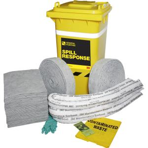 3M General Purpose Spill Kit Wheely Bin 210 Litre