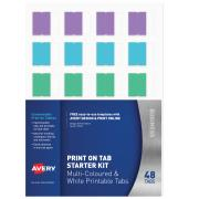 Avery Print on Tabs - Starter Kit - White and Coloured 48 Tabs each - (5412548 / L7431)