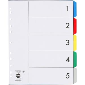 Marbig Dividers Extra Wide Style Polypropylene 5 Coloured Tabs Extended A4 White Hole Punched