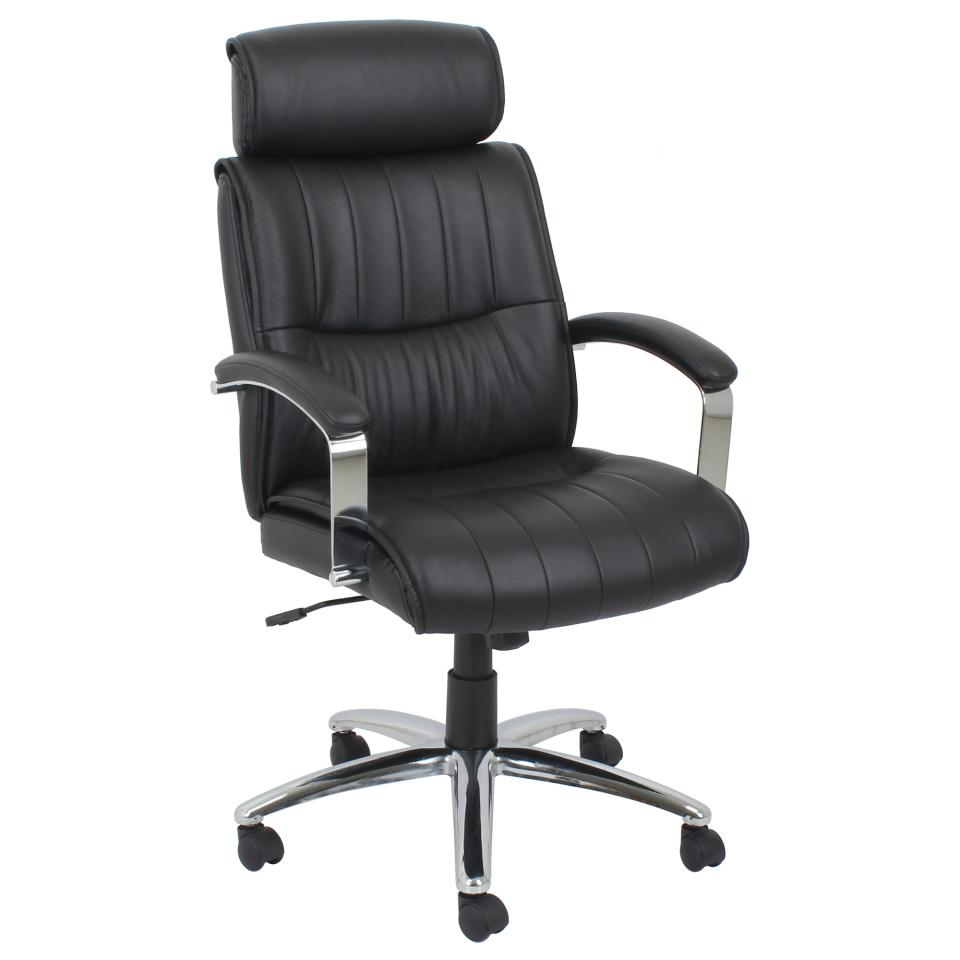 Winc Ambition Aptitude Executive Chair with Fixed Loop Arms and Headrest PU Black
