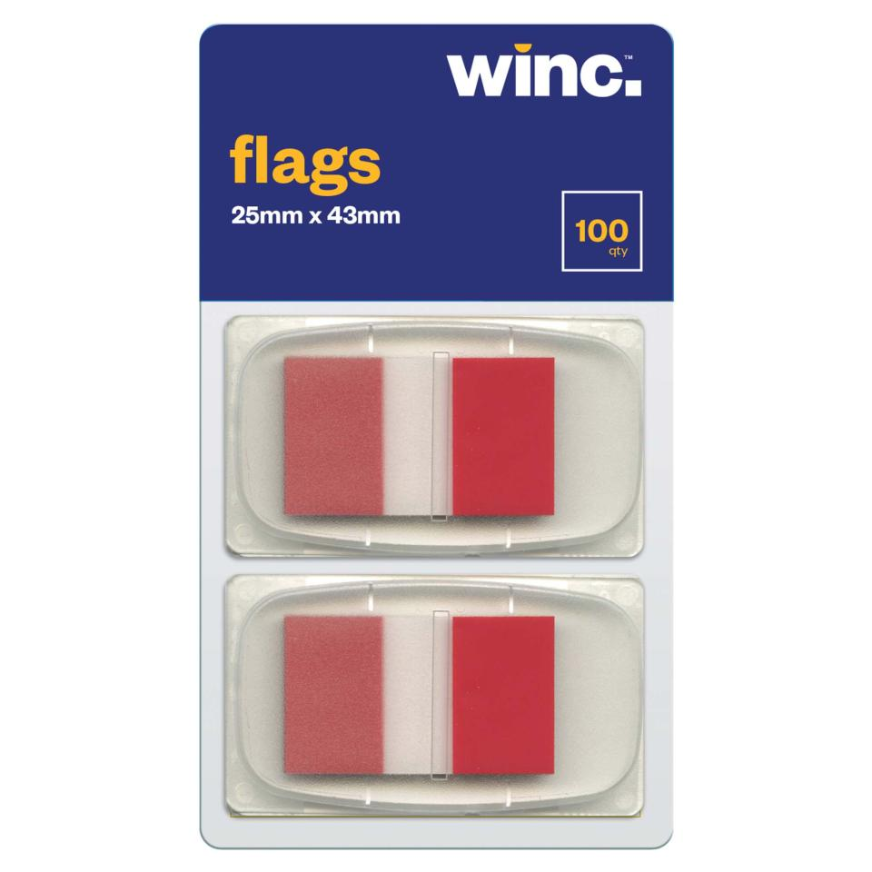 Winc Flags 25 x 43mm Red Packet 100