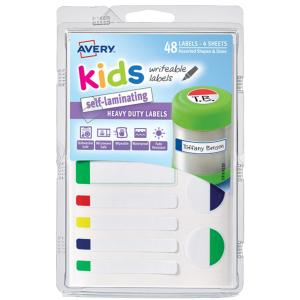 Avery Kids Self Laminating Labels Assorted Neon Colours 48 Labels/pack
