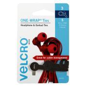 Velcro Brand Small One Wrap Headphone & Earbud Ties 3Pcs