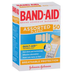 band aid adhesive bandages assorted sterile shapes pack 50 staples