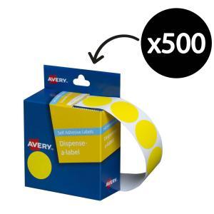 Avery Yellow Circle Dispenser Labels - 24mm diameter - 500 Labels