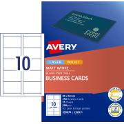 Avery Quick & Clean Business Cards 200gsm 85 x 54mm White Matt Finish Single Sided 25 Sheets