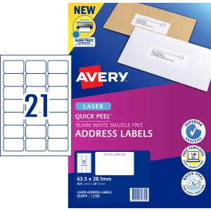 Avery Address Labels with Quick Peel for Laser Printers - 63.5 x 38.1mm - 420 Labels (L7160)