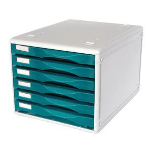 Metro 6 Drawer Unit B4 Desk Storage Blueberry & Grey