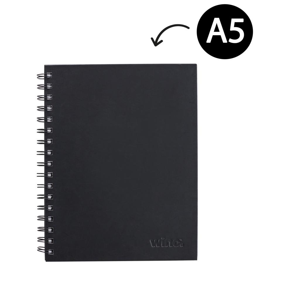 Winc Hardcover Spiral Notebook Ruled 225 x 175mm Black 200 Pages