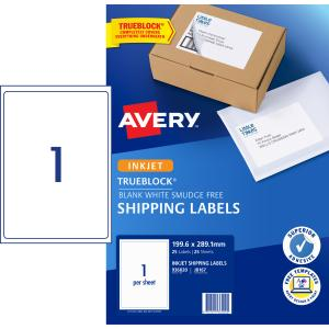 Avery Shipping Labels with TrueBlock for Inkjet Printers - 199.6 x 289.1mm - 25 Labels ( J8167)