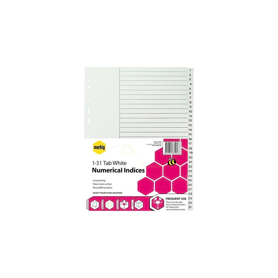Marbig A4 Dividers Plastic 1-31 White