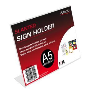 Deflecto 47511 Menu/Sign Holder A5 L/Scape Slanted