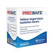 Impervious Isolation Gown Velcro Neck With Knitted Cuffs Yellow Carton of 50