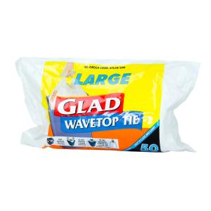 Glad Wave Top Kitchen Tidy Large 36 Litre White Roll 50