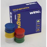 Winc Round Magnets Flat 35mm Assorted Colours Pack 10
