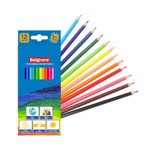 Belgrave Hexagonal Standard Colour Wood Free Pencils Pack 12