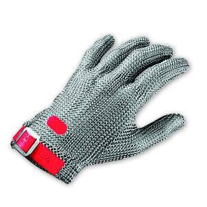 Chainex Stainless Steel Wrist Glove With Red Plastic Strap Ambidextrous Single Glove Only Med Each