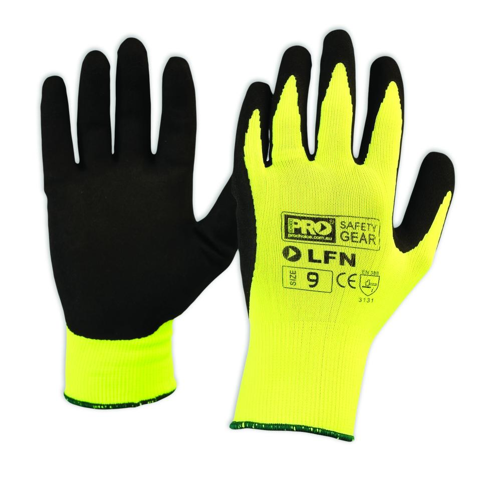 Paramount Safety Lfn Prochoice Latex Foam Glove On High Visibility Yellow Anti-Static Liner