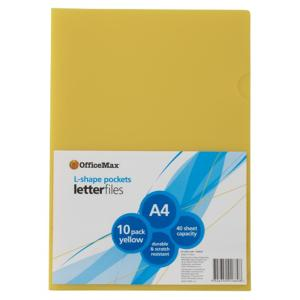 Officemax L Shaped Letter File Pocket A4 Yellow Pack Of 10