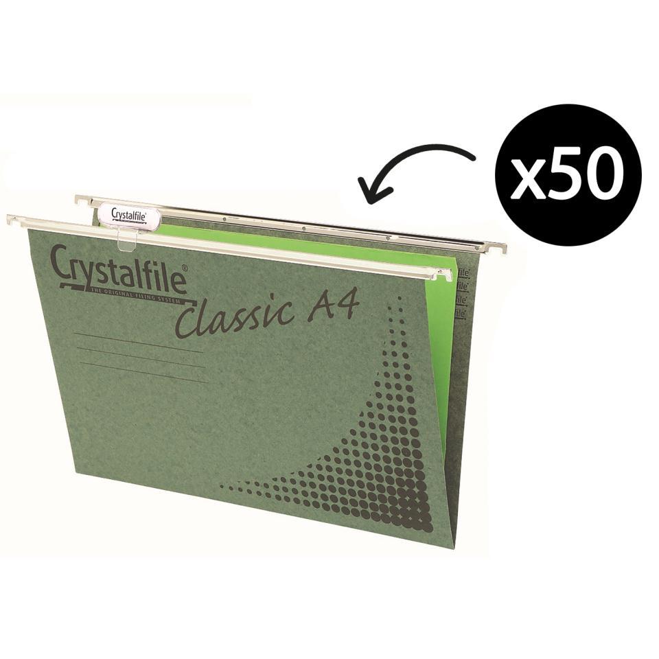 Crystalfile Suspension File Manilla Board 100% Recyclable A4 Green Pack 50