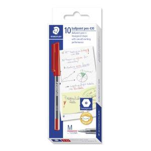 Staedtler Stick 430M Ballpoint Pen Medium 1.0mm Red Box 10