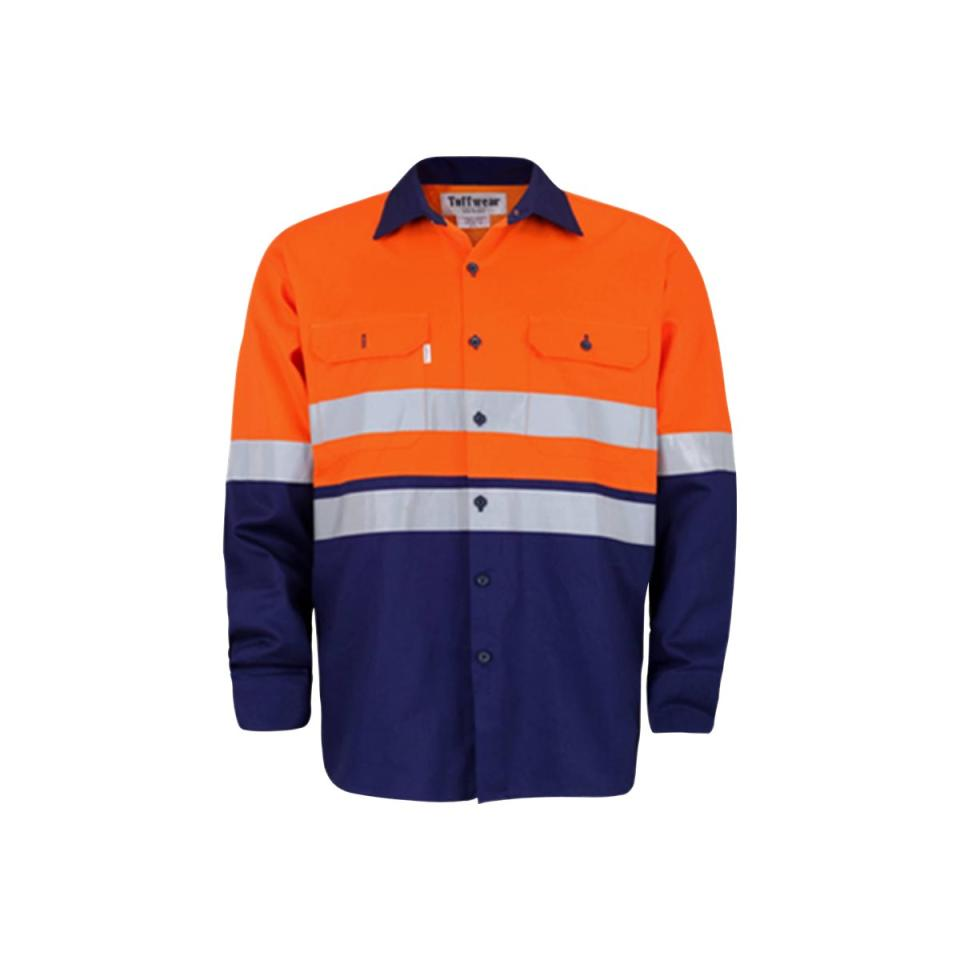 Tuffwear 0179 Vented Light Weight Drill Shirt With Reflective Tape Orange/Navy Size L