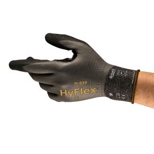 Ansell HyFlex 11-939 Gloves Full Coated Oil Repellant Level B Cut Pair