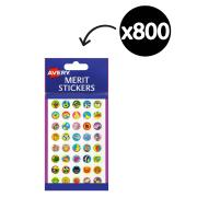 Avery Merit Stickers Mini Assorted 13mm Pack 800