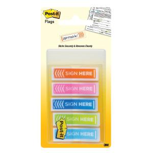 3m Post-It Sign Here Flags Orange/Pink/Blue/Lime/Aqua Pack 100
