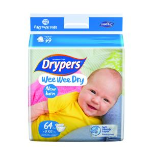 Drypers Nappies Newborn Soft Pack 64 Carton Of 4