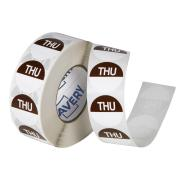 Avery Food Rotation Thursday Day Label Removable Adhesive Brown 24mm Round Roll 1000