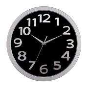 Carven Wall Round Clock Black & Silver 33cm