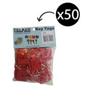 Telkee Key Tags Square Numbered 1-50 Red Pack 50