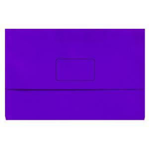 Marbig Slimpick Document Wallet Foolscap Purple Pack 10